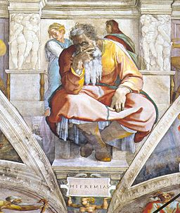 Jeremiah by Michelangelo on roof of Sistine Chapel