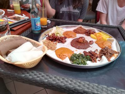 Banquet of colours and flavours in the Ethiopian restaurant we visited