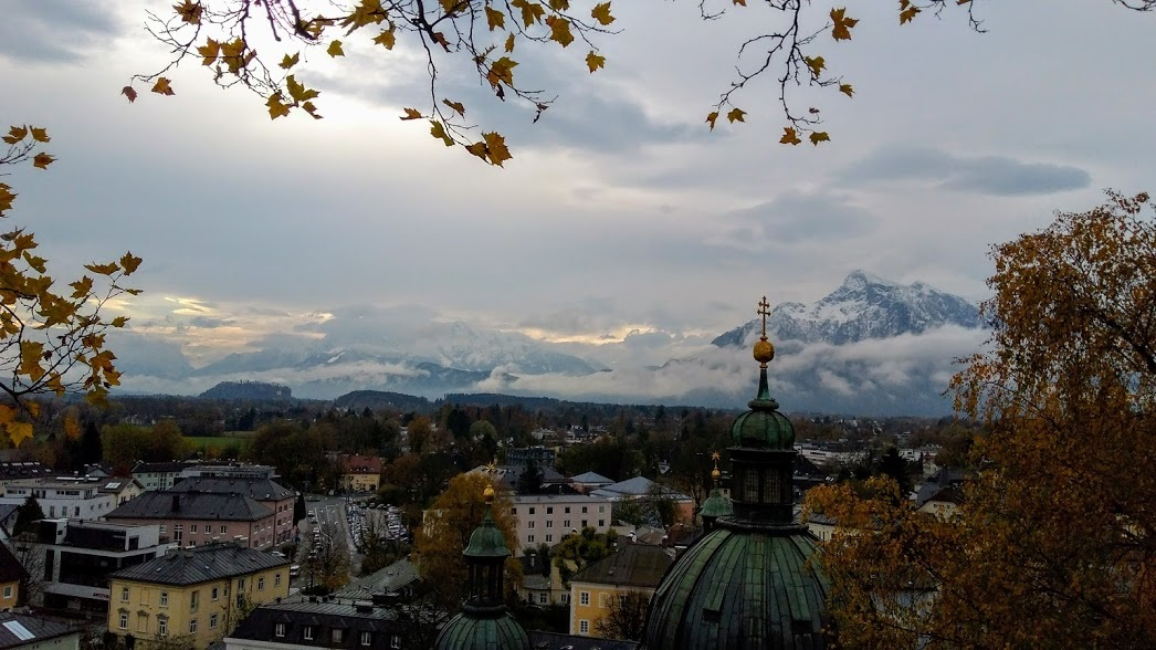 View across Salzburg old town towards the snowcapped Alps.