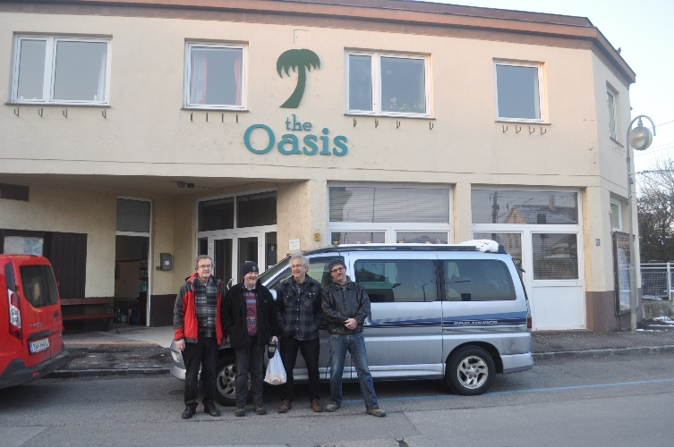Outside the Oasis with the van