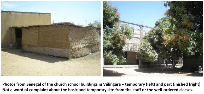 Church school buildings in Vélingara, Senegal – temporary (left) and part finished (right)