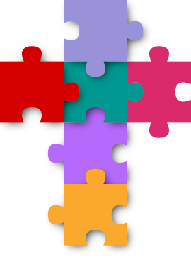Brightly coloured jigsaw pieces making up a cross