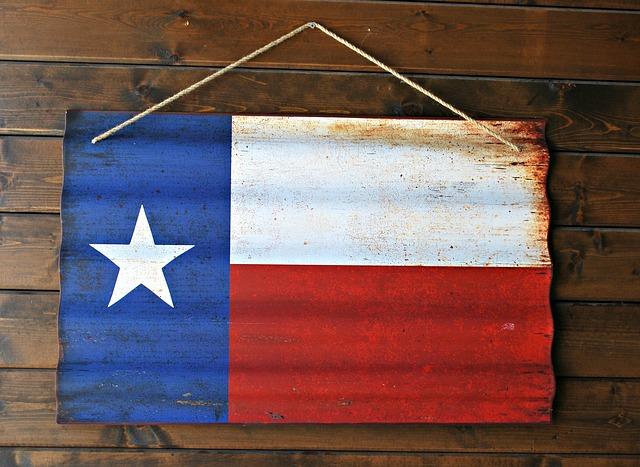 Texas flag on corrugated iron sheet
