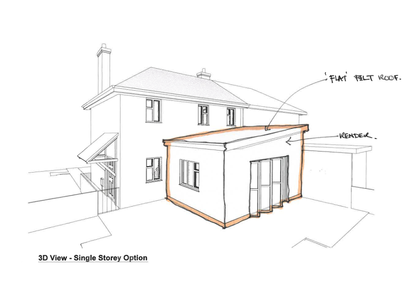 Architect's sketch of single storey extension to 16 Arnolds Mead